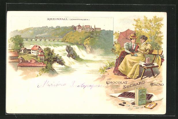 Lithographie Schaffhausen, Blick zum Rheinfall, Reklame Chocolat Suchard