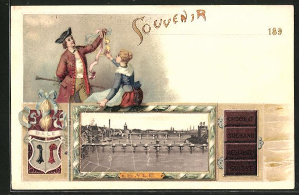 Lithographie Basel, Panorama, Chocolat Suchard Neuchatel Suisse, Wappen