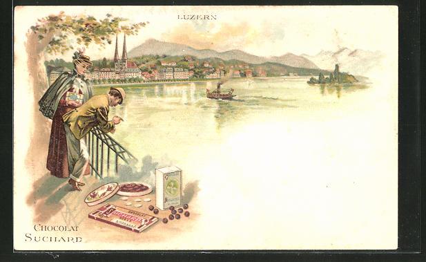 Lithographie Luzern, Panorama und Reklame Chocolat Suchard