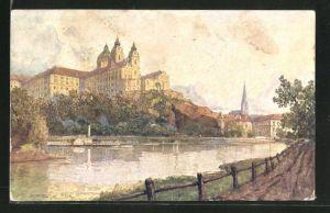 Künstler-AK Fritz Lach: Melk a. d. D., Ortspartie mit Dampfer am Benediktinierstift