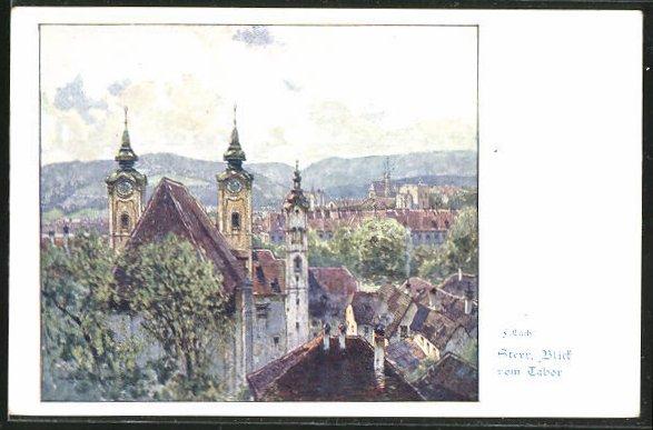 Künstler-AK Fritz Lach: Steyr, Blick vom Tabor