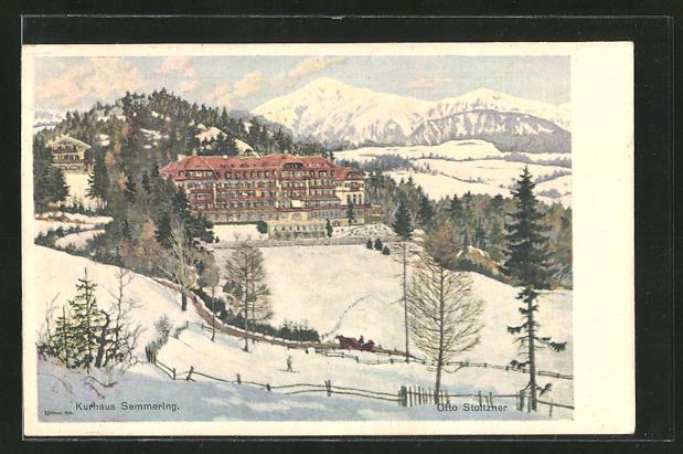 Künstler-AK Otto Stoitzner: Semmering, Winterpartie am Kurhaus