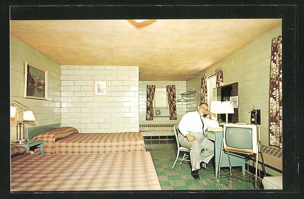 AK Indianapolis, IN, Del-Ray Motel mit Innenansicht, Fernseher und Telefon