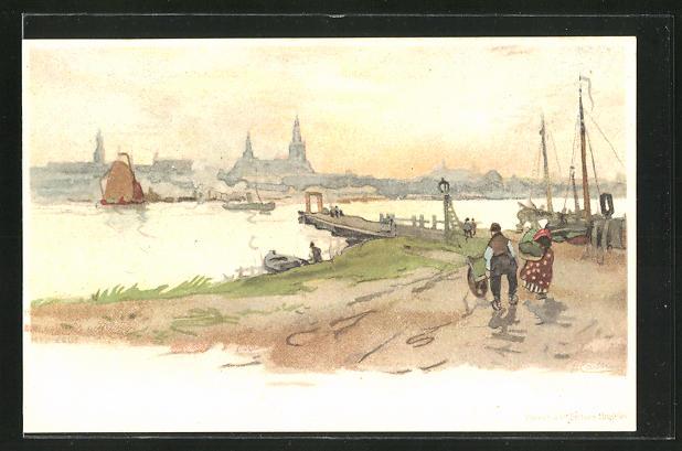 Künstler-AK Henri Cassiers: Nijmegen, Uferpartie am Hafen