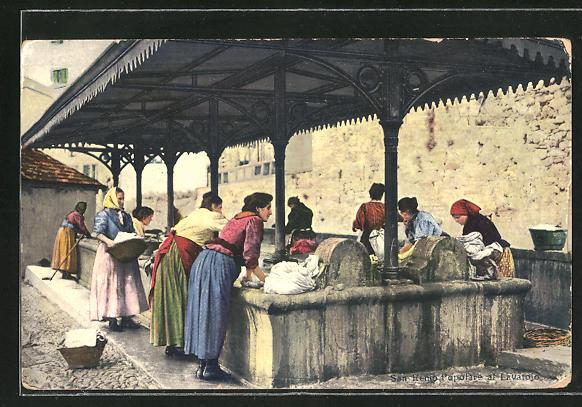 AK San Remo, Waschfrauen am Wasserbecken