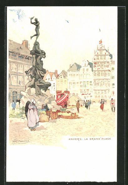 Künstler-AK Henri Cassiers: Anvers, La Grand' Place