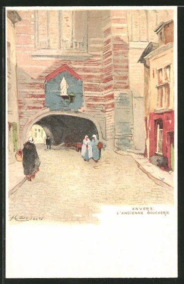 Künstler-AK Henri Cassiers: Anvers, L'Ancienne Boucherie