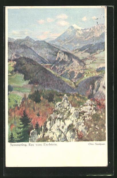 Künstler-AK Otto Stoitzner: Semmering, Rax vom Eselstein