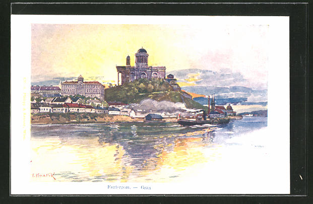 Künstler-AK Franz Kopallik: Esztergom, Panorama