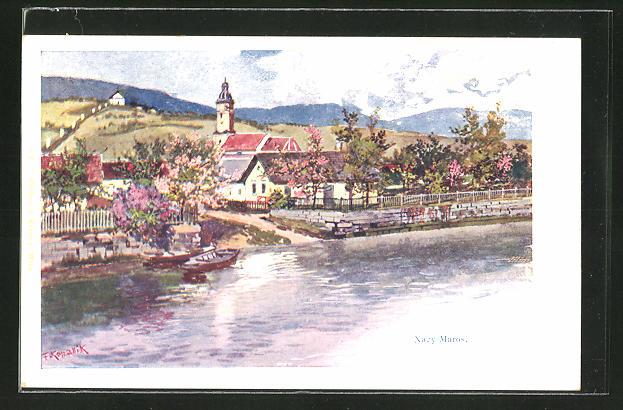 Künstler-AK Franz Kopallik: Nagy-Maros, Panorama mit Ufer