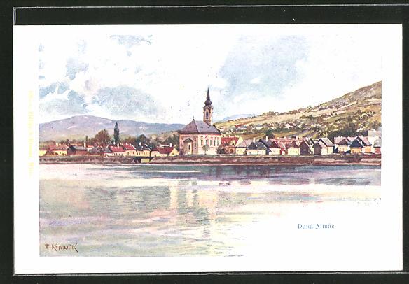 Künstler-AK Franz Kopallik: Duna-Almas, Gesamtansicht vom Wasser aus