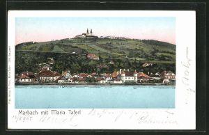 Goldfenster-AK Marbach, Panorama mit Maria Taferl und leuchtenden Fenstern