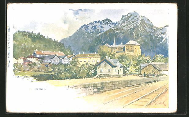 Künstler-AK Franz Kopallik: Golling, Panorama mit Bahnhof