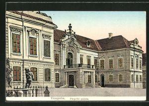 Goldfenster-AK Veszprem, Püspöki palota mit leuchtenden Fenstern