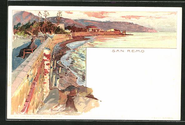 Künstler-AK Manuel Wielandt: San Remo, Panoramablick mit Uferpromenade
