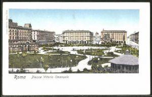 Goldfenster-AK Roma, Piazza Vittorio Emanuele und Häuser mit leuchtenden Fenstern
