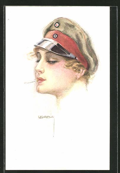 Künstler-AK Luis Usabal: Dame mit Militärmütze und Zigarette