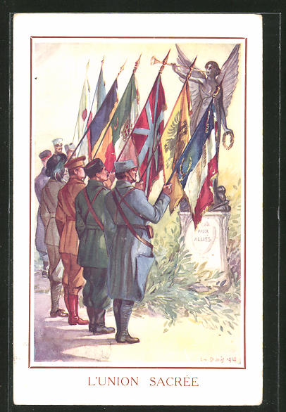 Künstler-AK Em. Dupuis: Propaganda Entente, L'Union Sacree, Soldaten mit Fahne