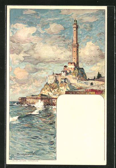 Künstler-AK Manuel Wielandt: Genova, Sicht zum Leuchtturm