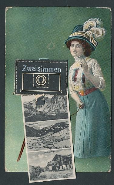 Leporello-AK Zweisimmen, Ansichten im Fotoapparat, Hotel de la Gare, Post, Bahnhofstrasse