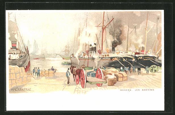Künstler-AK Henri Cassiers: Anvers / Antwerpen, Les Bassins, Hafenpartie