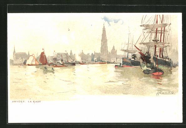 Künstler-AK Henri Cassiers: Anvers / Antwerpen, La Rade, Hafenpartie