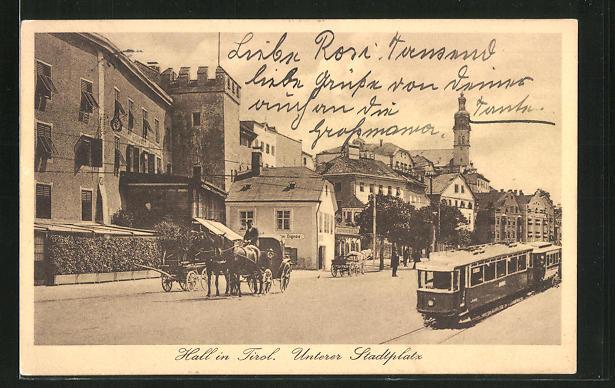 AK Hall i/Tirol, Unterer Stadtplatz, Kutsche und Strassenbahn, Montage