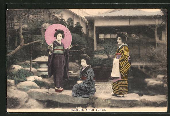 AK Pleasure after Lunch, Japanerinnen in Garten, Geishas
