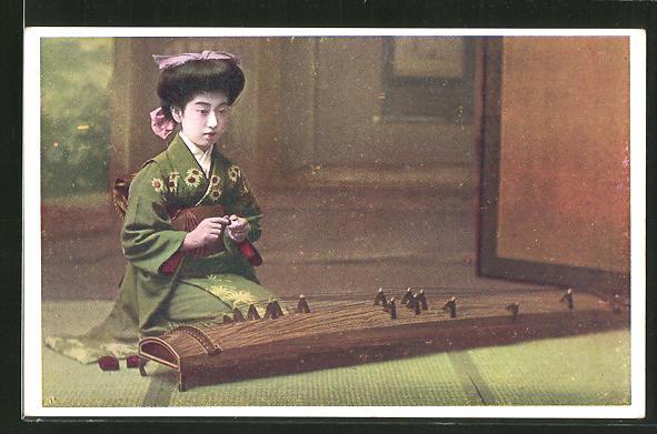 AK Japanische Musikerin mit Saiteninstrument, Geisha