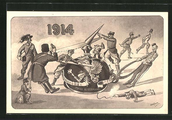 Künstler-AK Gantner: 1914, Zerstörung einer Pickelhaube, Propaganda Entente