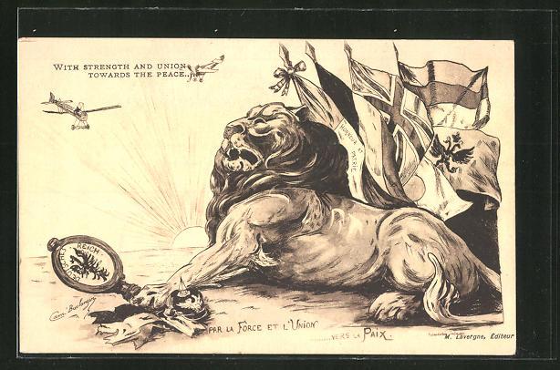 Künstler-AK With Strength and Union towards the Peace..., Propaganda Entente