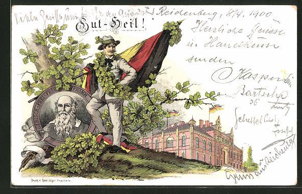 Lithographie Gut Heil!, Turner mit Vater und Portrait von Turnvater Jahn 0