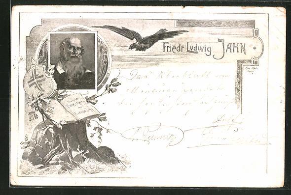 AK Friedr. Ludwig Jahn, Portrait und Adler, Turnerschaft
