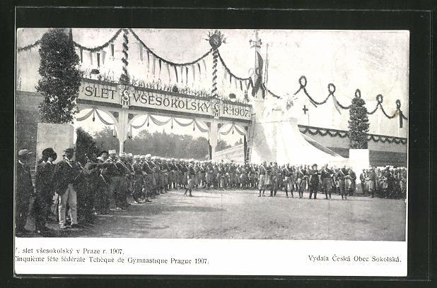 AK Prag, 7. slet vsesokolsky v Prazte r. 1907, Sokol