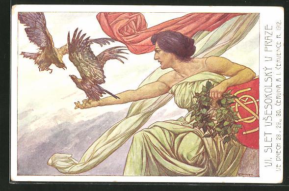 AK Praze, VI. Slet Vsesokolsky 1912, Frau mit kämpfenden Falken auf dem Arm, Sokol