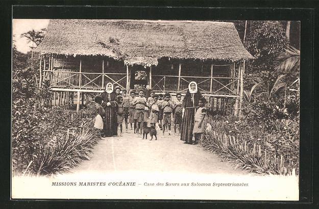 AK Missions Maristes d'Océanie, Case des Soeurs aux Salomon Septentrionales