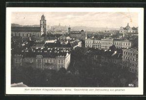 AK Wilna, Gesamtblick vom Schlossberg aus gesehen, Vom östlichen Kriegsschauplatz