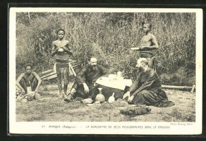 AK Brousse, La Rencontre de Deux Missionnaires dans la Brousse
