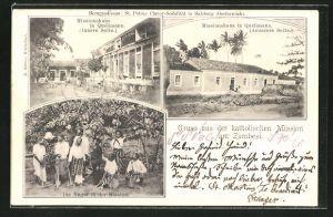 AK Zambesi, Katholische Mission mit Missionshaus und Einheimischen