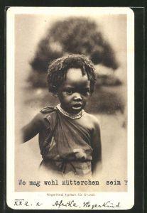 AK Urundi, typisches schwarzes kleines Mädchen