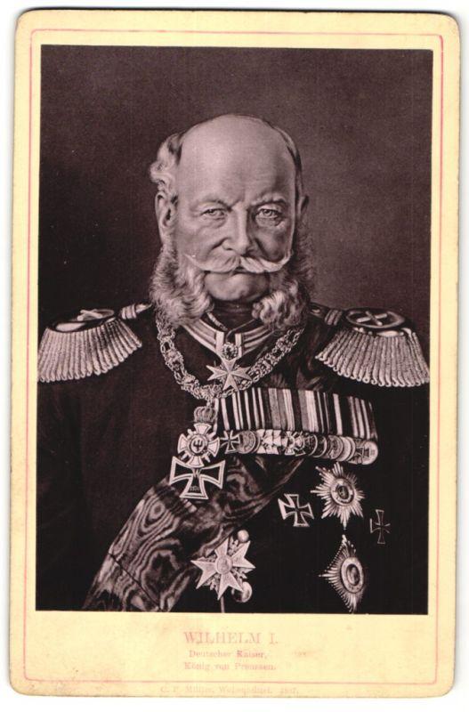 Fotografie C. F. Müller, Wolfenbüttel, Wilhelm I. Deutscher Kaiser, König von Preussen