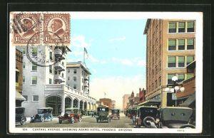 AK Phoenix, AZ, Central Avenue, showing Adams Hotel