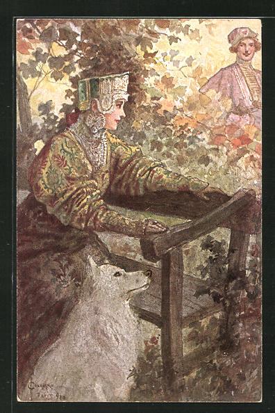 Künstler-AK S. Solomko: Dame mit Hund wartet auf der Bank auf ihren Liebsten,