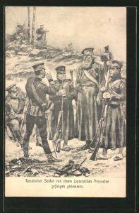 AK Russischer Soldat von einem japanischen Vorposten gefangen genommen, Russisch-Japanischer Krieg
