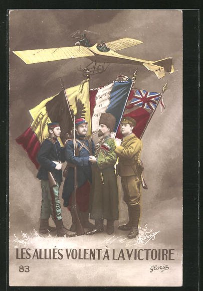 AK Les Alliés volent à la Victoire, Soldaten der Entente, Flugzeug