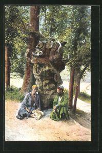 AK russische Typen aus Zentral-Asien am heiligen Baum