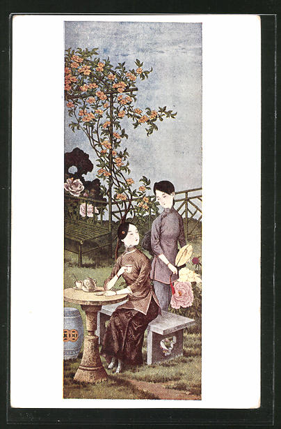 AK zwei junge Geishas beim Tee im Park