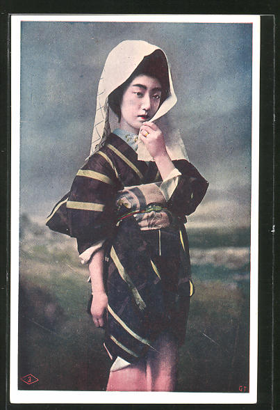 AK Japanerin in traditioneller Kleidung, Geisha, Kimono