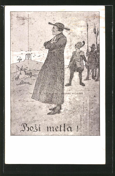 Künstler-AK sign. K. Simunka: Bozi metla!, Priester beobachtet Hingerichtete
