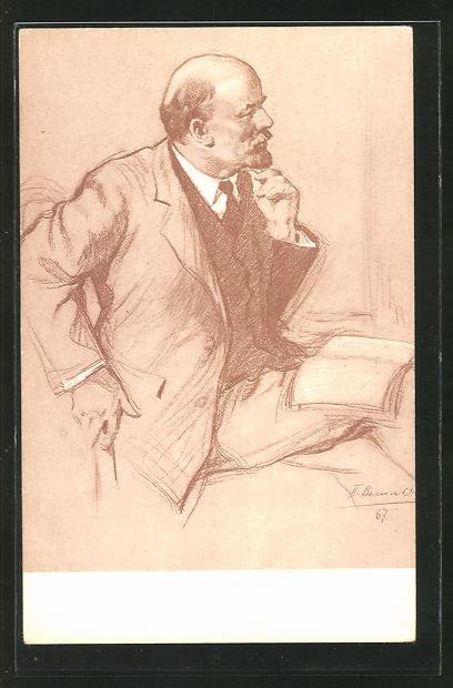 Künstler-AK Profilstudie von Lenin
